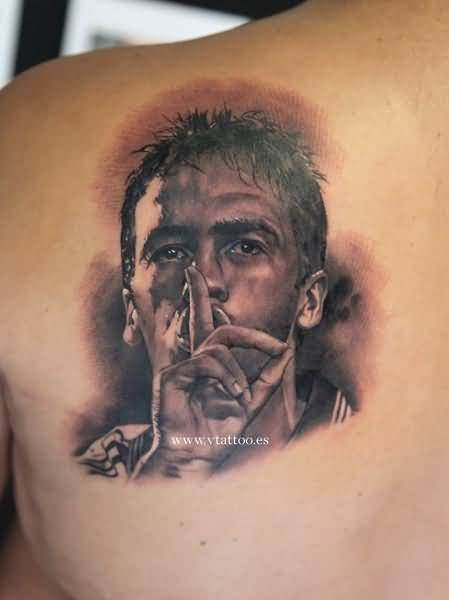 Left Back Shoulder 3D Portrait Real Madrid Player Face Tattoo