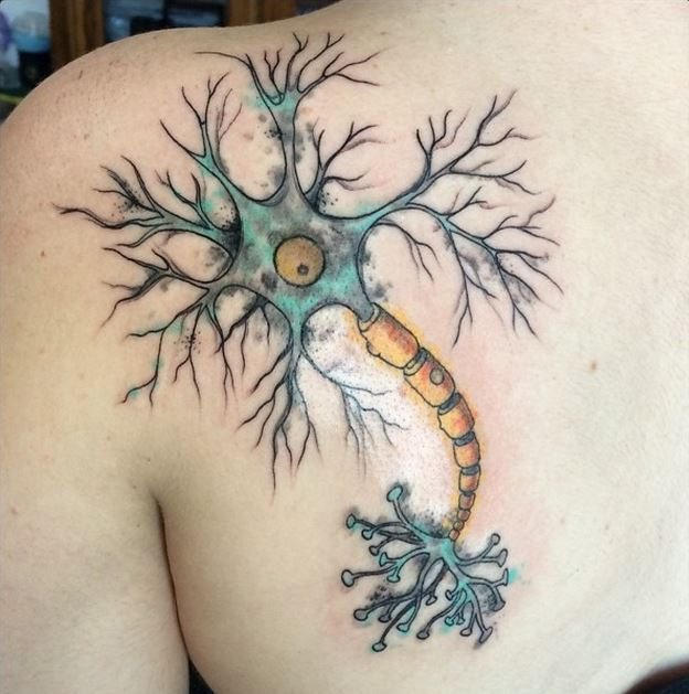 Left Back ShoulderAmazing Science Neuron Tattoo For Girl