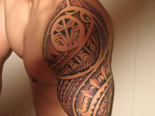 Left Half Sleeve Nice FilipinoTribal Tattoo For Men
