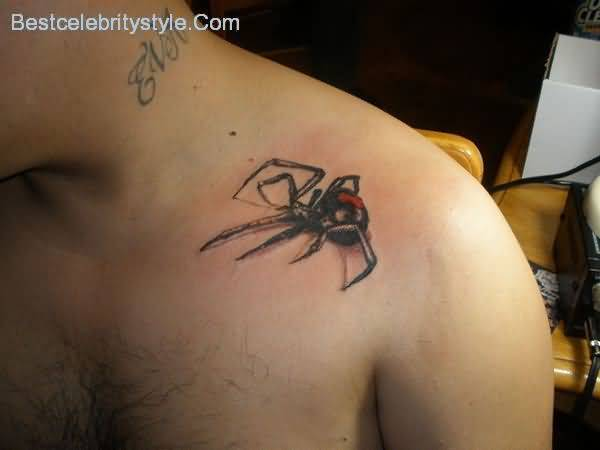 Left Upper Shoulder Cover Up with Simple Black Widow Tattoo
