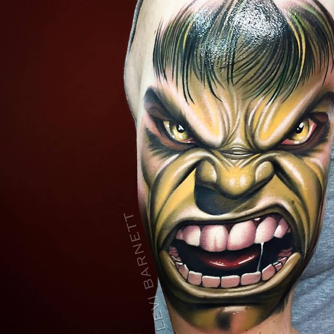 Levi Barnett Design A Angry Mood Awesome Hulk Face Tattoo On Upper Arm