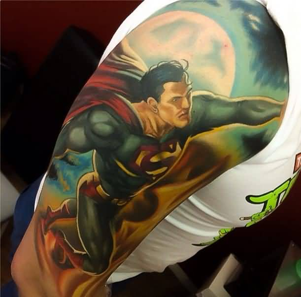 Levi Barnett Design A Awesome Flying Superman Tattoo On Upper Arm