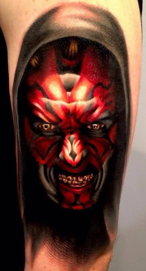 Levi Barnett Design A Red Ink Scary Monster Face Tattoo On Arm
