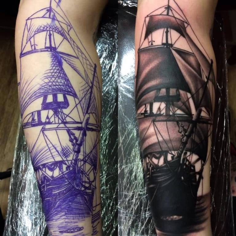 Levi Barnett Design A Simple And Amazing Ship Tattoo