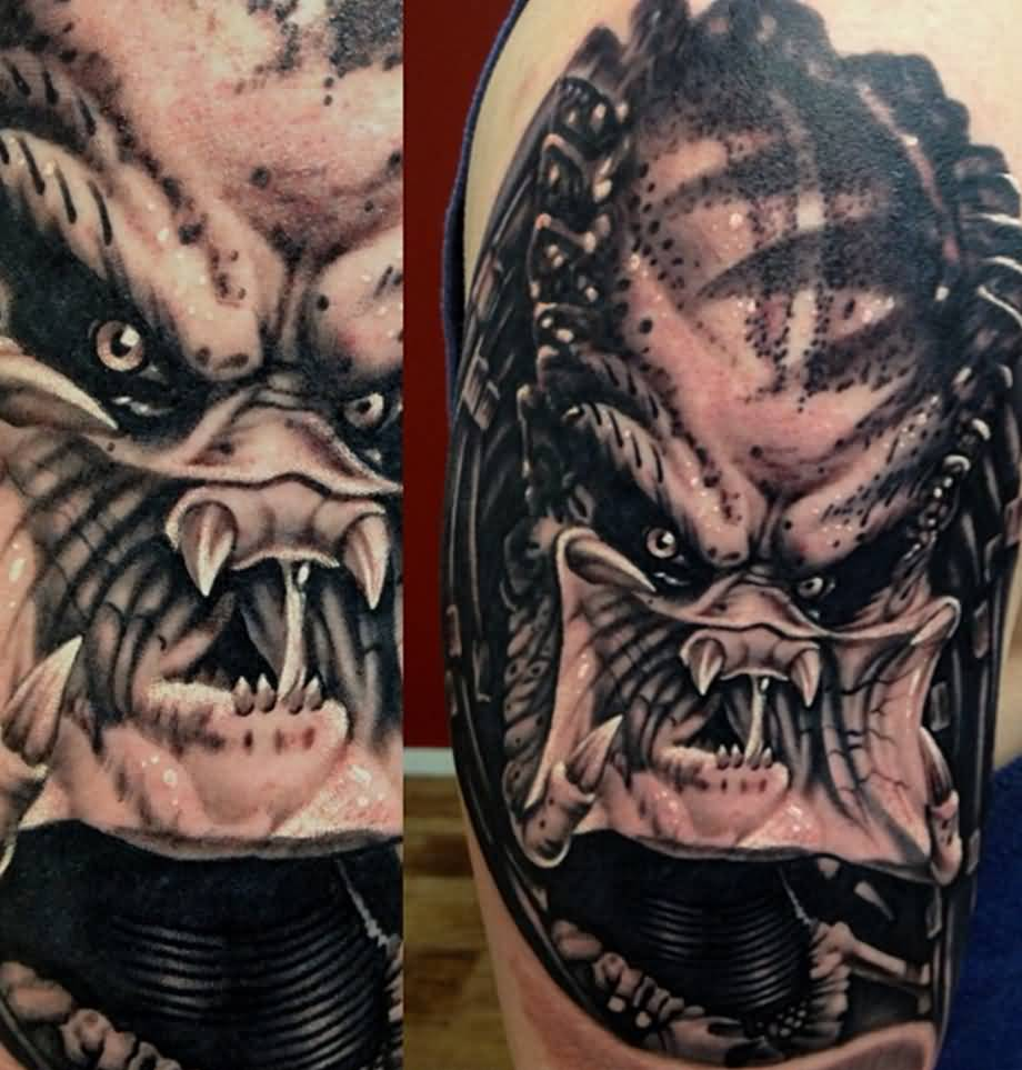 Levi Barnett Design A Upper Arm Scary Predator Face Tattoo
