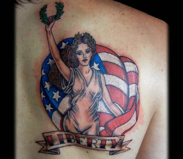 Liberty Banner Crazy Pin Up Girl Tattoo Design With USA Flag