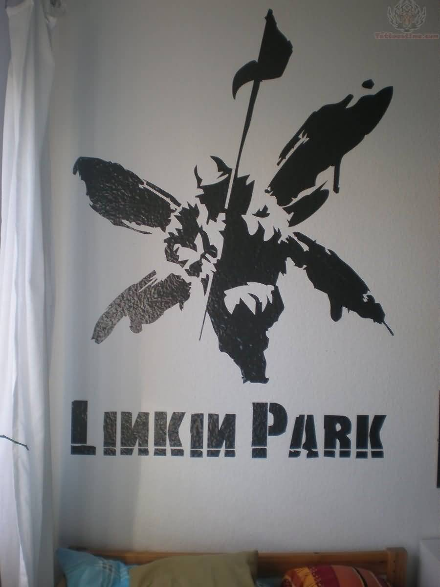 Linkin Park Soldier With Text Tattoo Design Idea