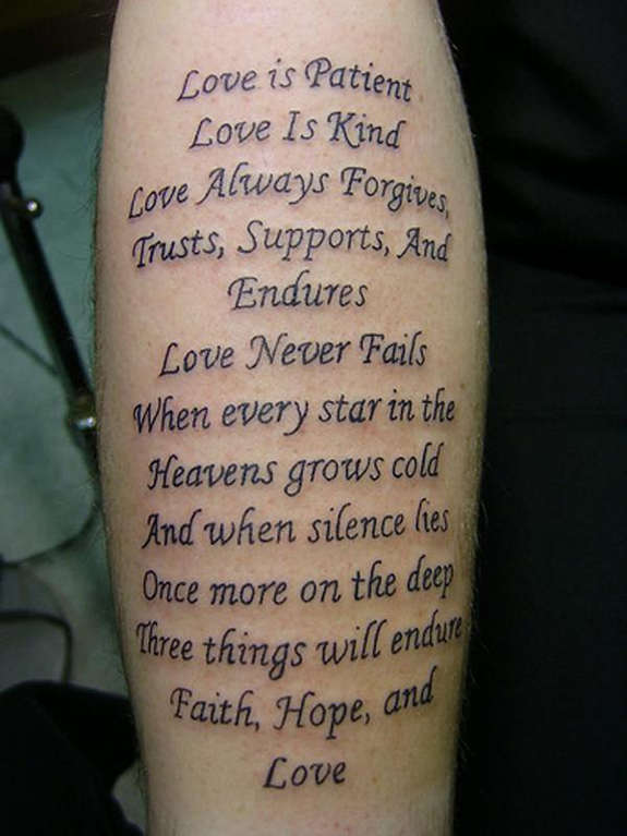 Literary Love Faith Hope Quote Tattoo On Sleeve