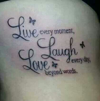 Live Laugh Love Butterfly Letter Tattoo