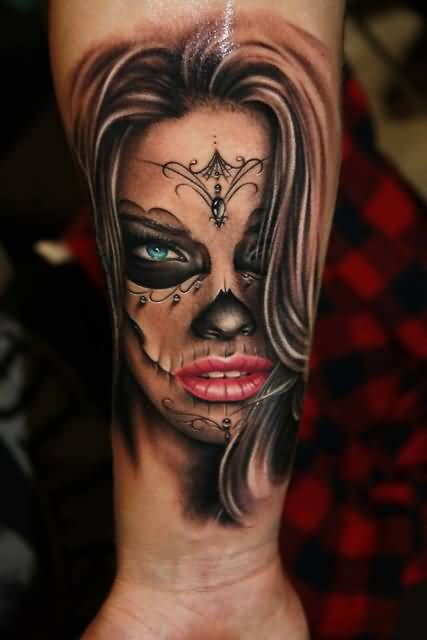 Long Hair Catrina Girl Face Tattoo On Forearm
