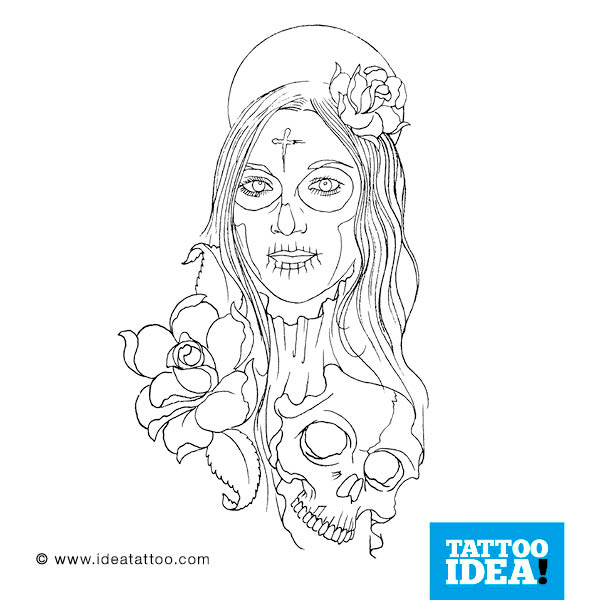 Long Hair Simple Catrina Girl Tattoo Design Picture