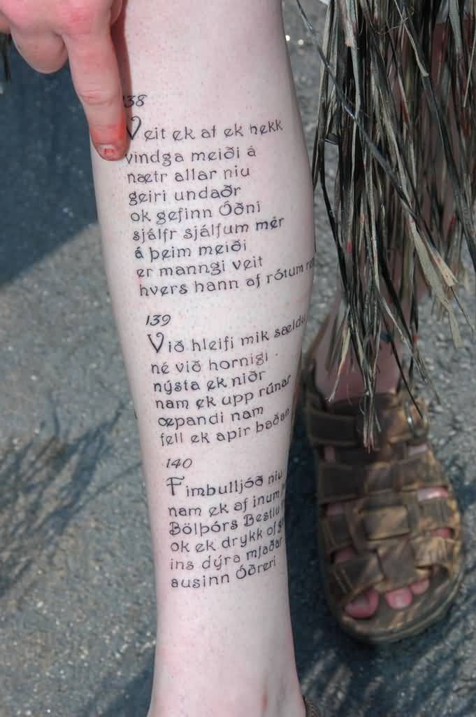 Long Nice Poem Tattoo Design On Girl Leg