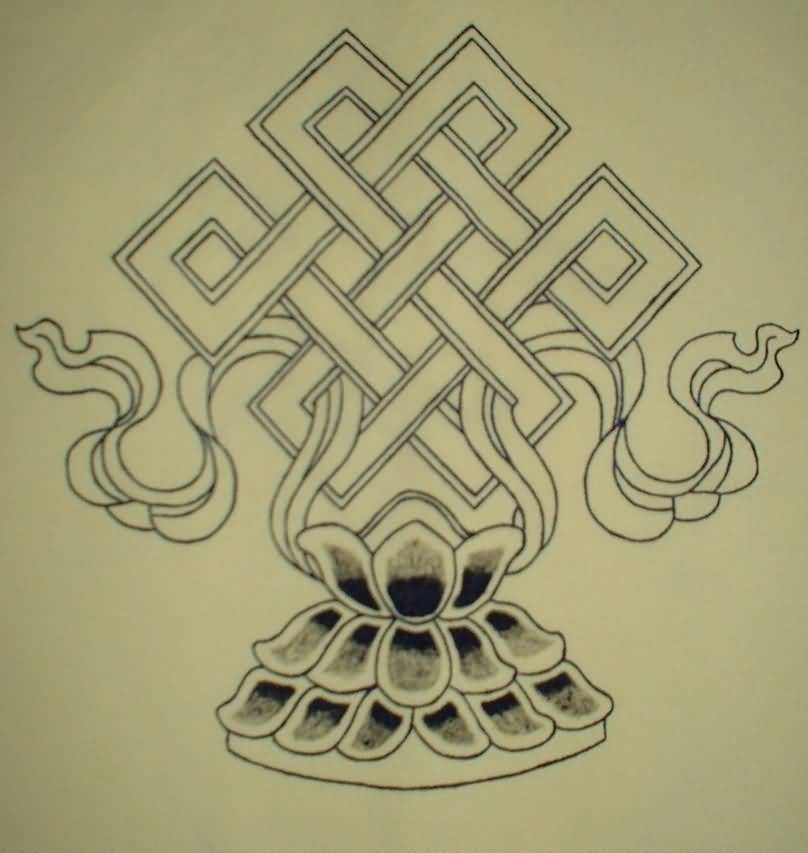 Lotus Flower Endless Knot Tattoo Sketch