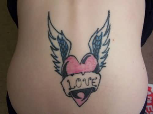 Love Banner Amazing Angel Wings Tattoo For Girl Lower Back