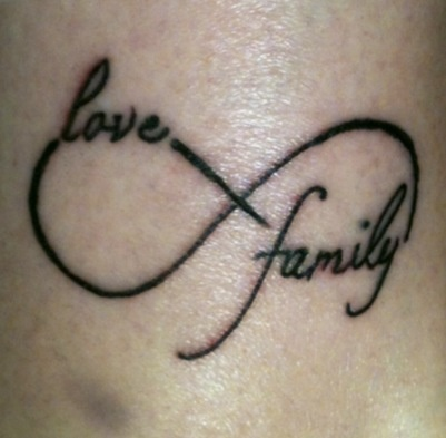 Love Family Black Ink Infinity Tattoo