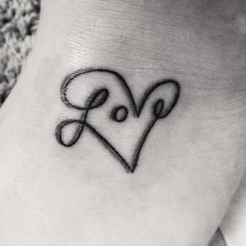Love Heart Black Ink Tattoo