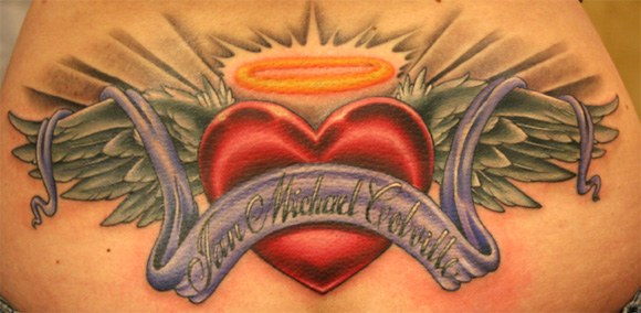Love Heart Memorial Banner Angel Wings Tattoo For Mom