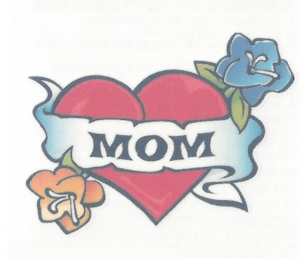 Love Heart Mom Banner Flower Tattoo