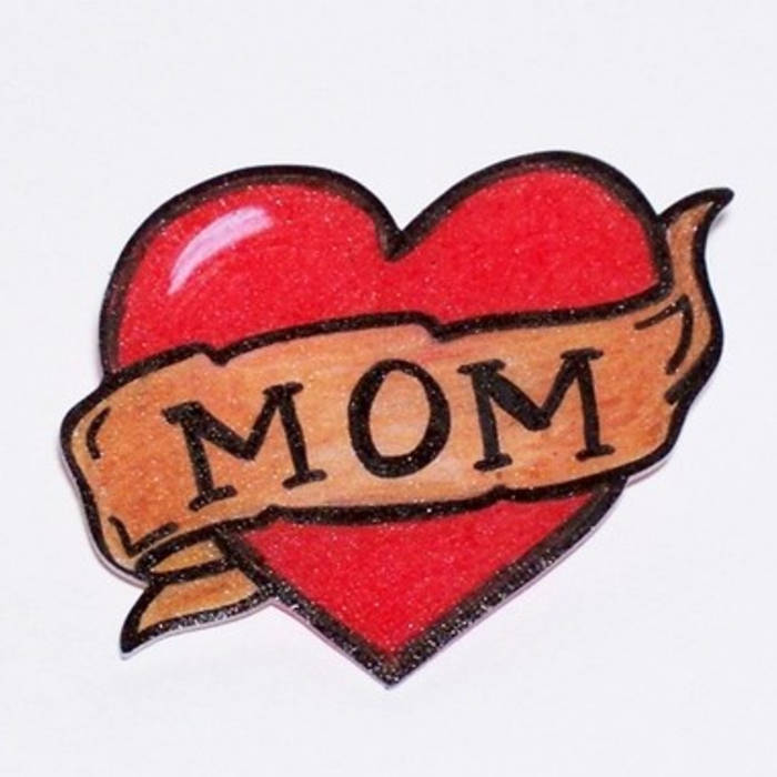 Love Heart Mom Banner Tattoo Sketch
