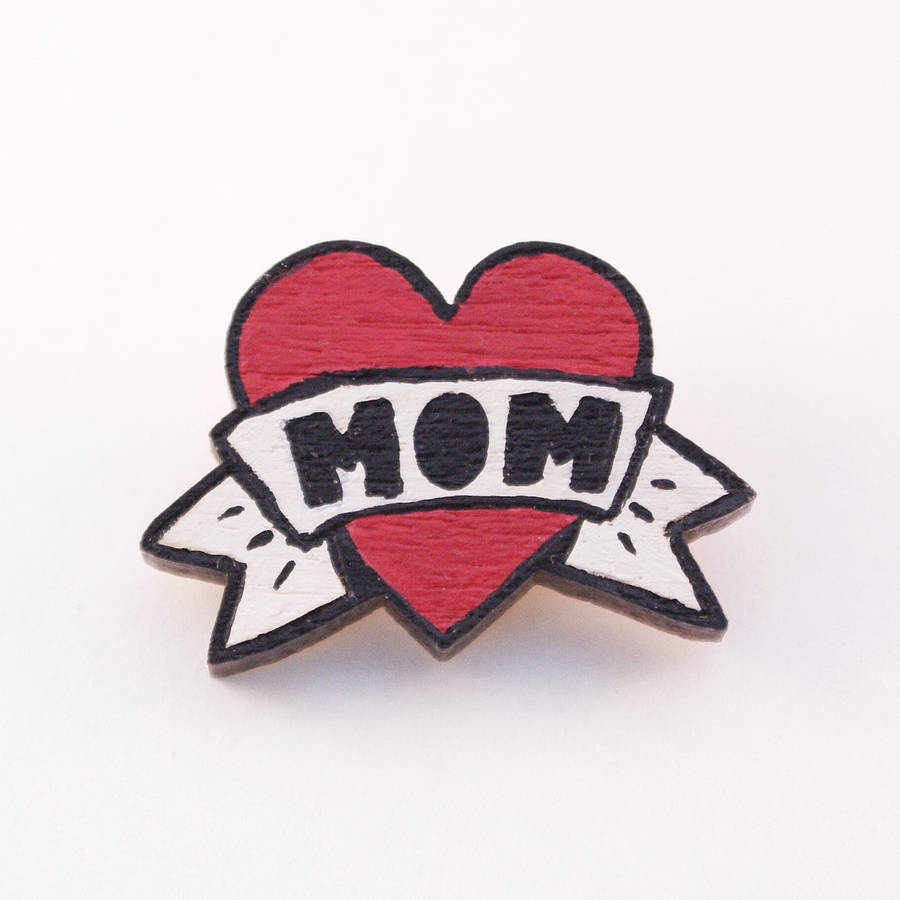 Love Heart Mom Banner Tattoo Stencil