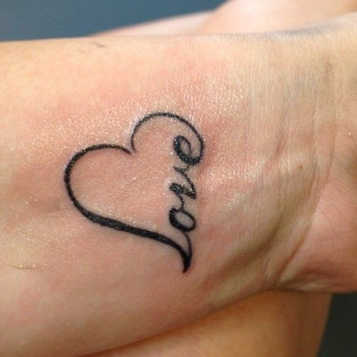 Love Heart Nice Love Tattoo On Wrist By Black Ink
