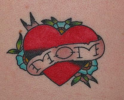 Love Heart Nice Mom Banner With Flower Tattoo