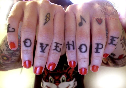 Love Hope Tattoo On All Fingers