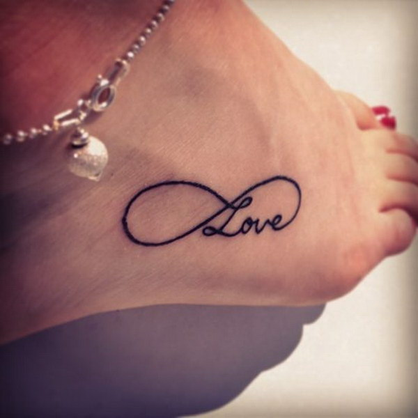 Love Infinity Black Ink Tattoo On Girl Foot