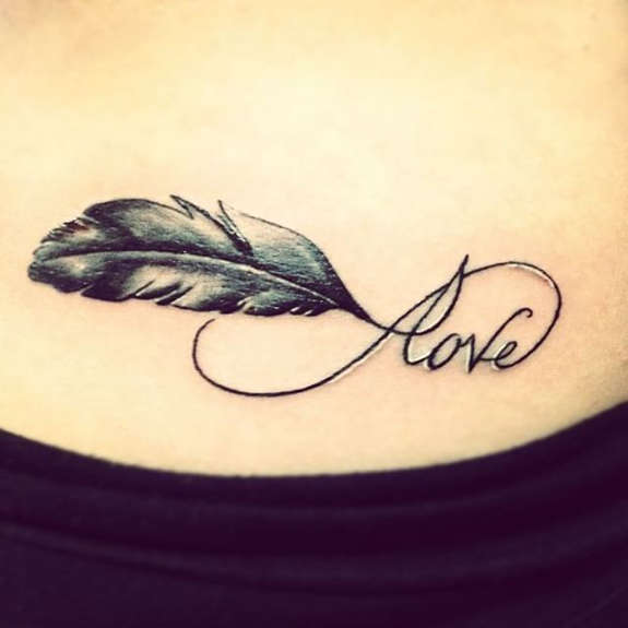 Love Infinity Feather Tattoo Design