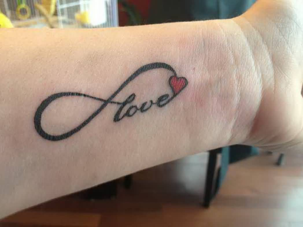 Love Infinity Nice Heart Tattoo On Wrist