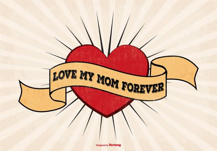 Love My Momk Forever Banner Red Heart Tattoo