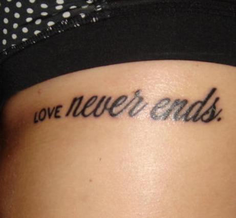 Love Never Ends Black Ink Shorts Quote Tattoo