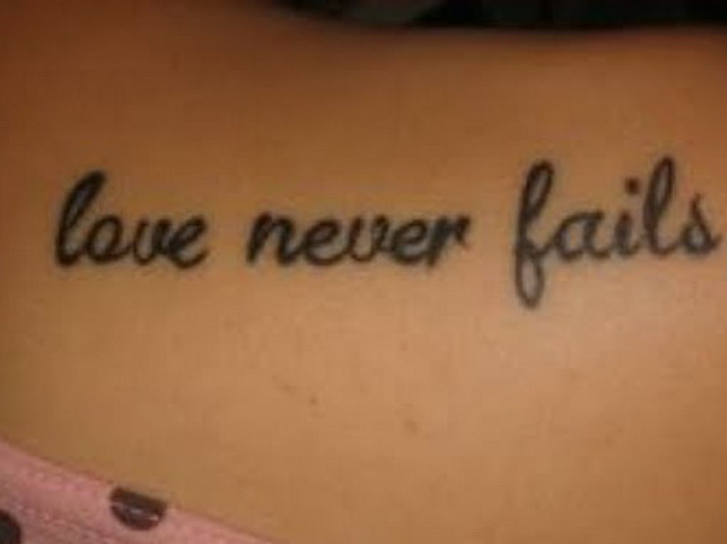 Love Never Fails Three Lines Quote Tattoo
