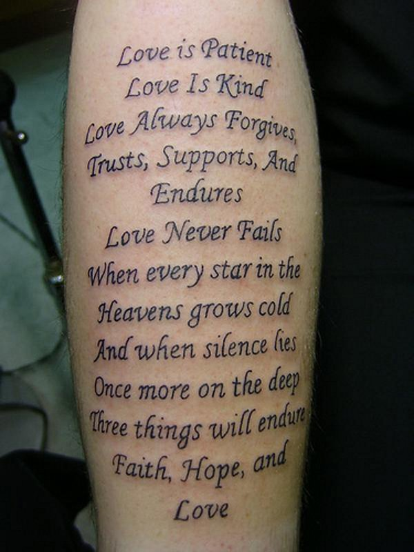 Love Nice Poem Tattoo Design Idea