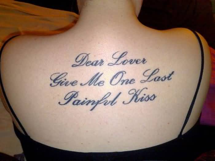 Love Quote Painful Kiss Letter Tattoo