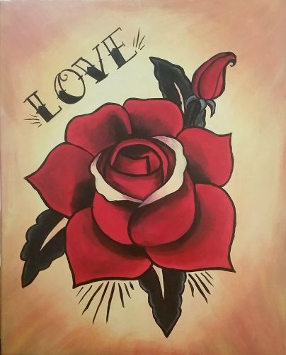 Love Text Beautiful Red Rose Old School Tattpp