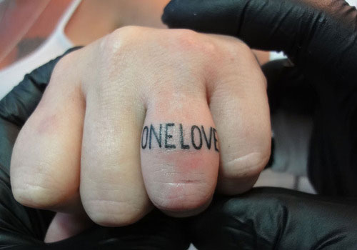 Love Text Simple Finger Tattoo