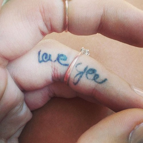 Love you Grey Ink Nice Finger Tattoo