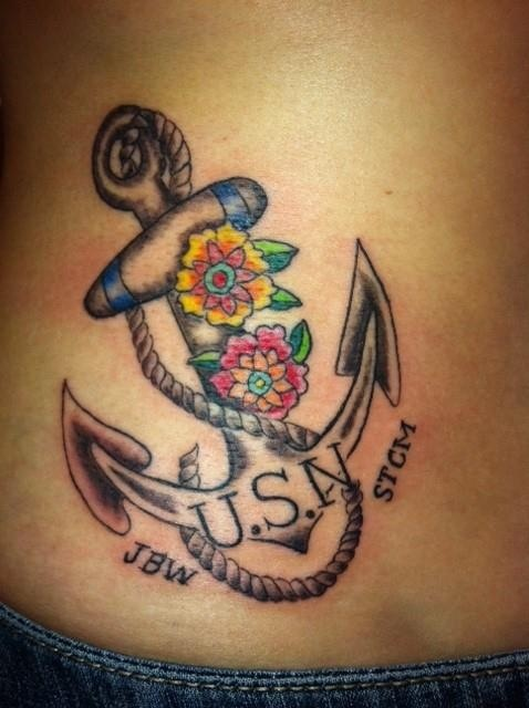 Lovely Flower With Us Navy Anchor Tattoo Design