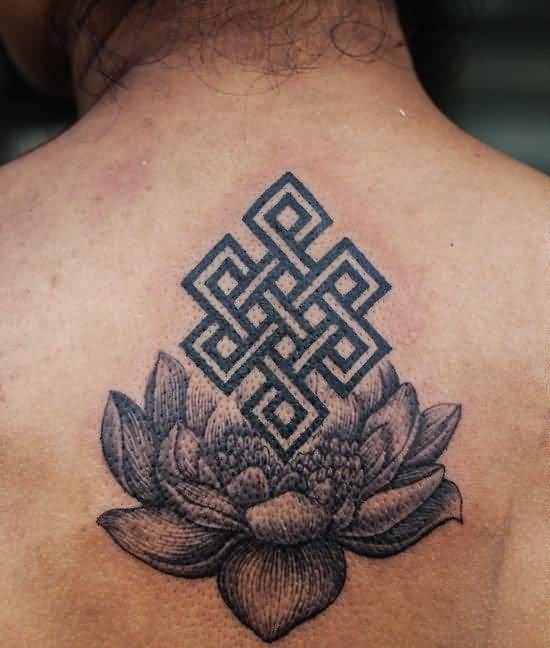 Lovely Lotus Flower With Buddhsit Endless Knot Tattoo On Upper Back