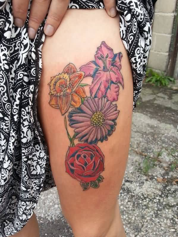 Lovely Red Rose With Colorful Flower And Gladiolus Tattoo On Thigh