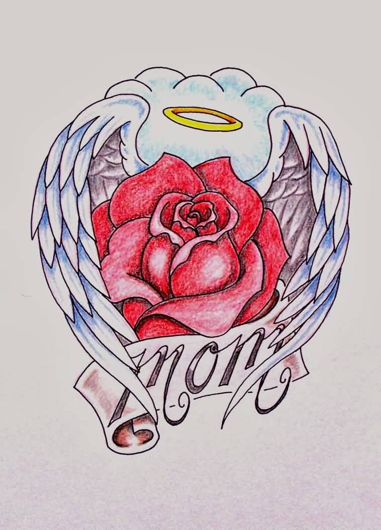Lovely Rose Cover With Angel Wings And Mom Banner Tattoo