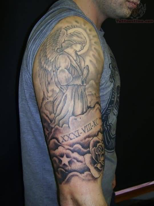 Lovely Rose With Grey Ink Praying Angel And Nice Star Tattoo For Half Sleeve