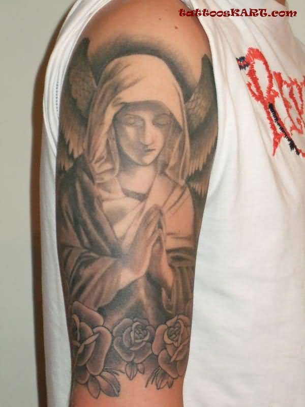 Lovely Rose With Nice Praying Angel Tattoo Design