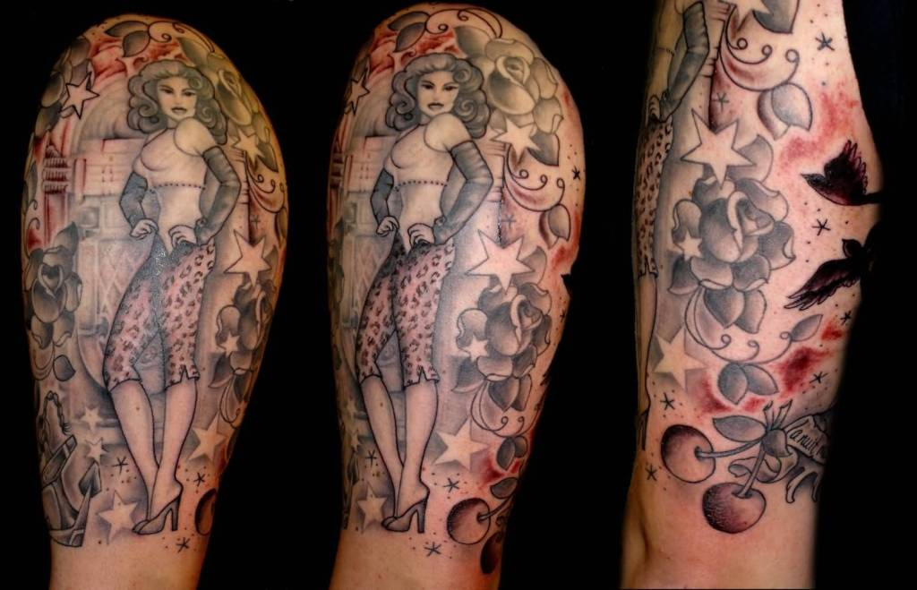 Lovely Stars With Standing Photo Pose Pin Up Girl Tattoo