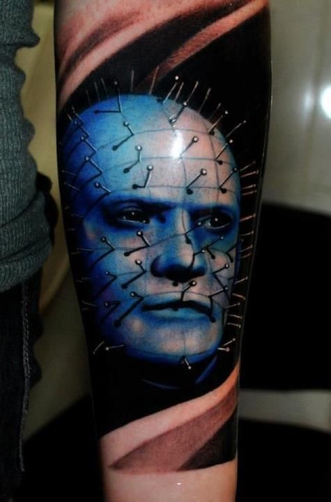 Lower Arm Awesome And Nice Pinhead Face Tattoo