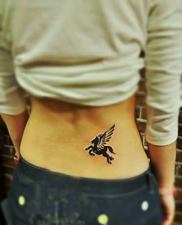 Lower Back Amazing And Nice Flying Pegasus Tattoo