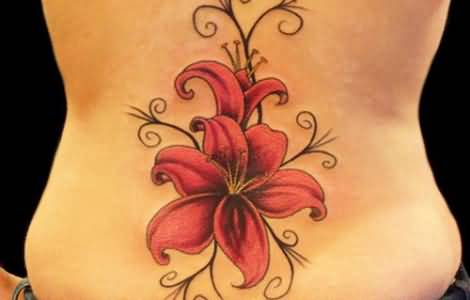 Lower Back Amazing And Nice Gladiolus Flower Tattoo Design
