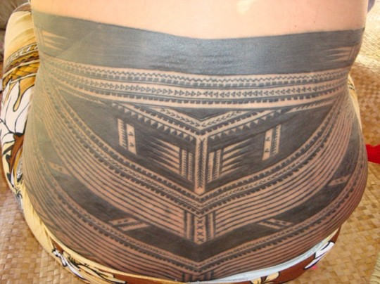 Lower Back Simple Samoan Tattoo By Grey Ink