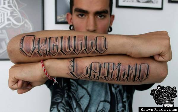 Lower Both Sleeve Amazing Latino Letters Tattoo For Men